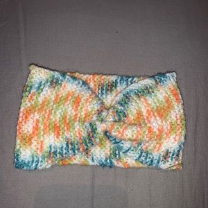 Youth sized rainbow knitted bow headband